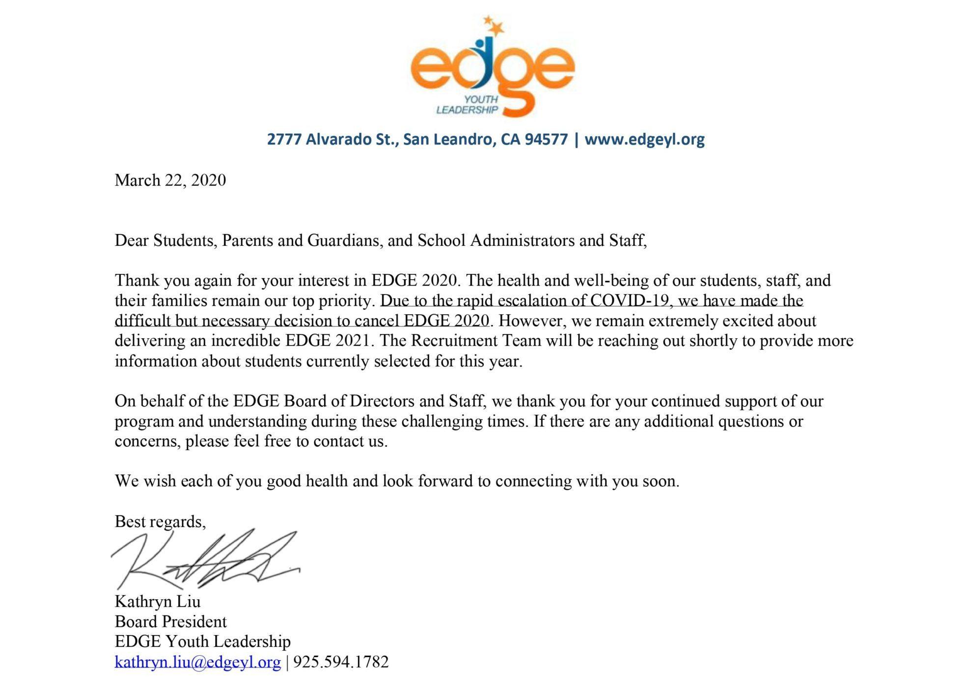 Board President Letter COVID 19